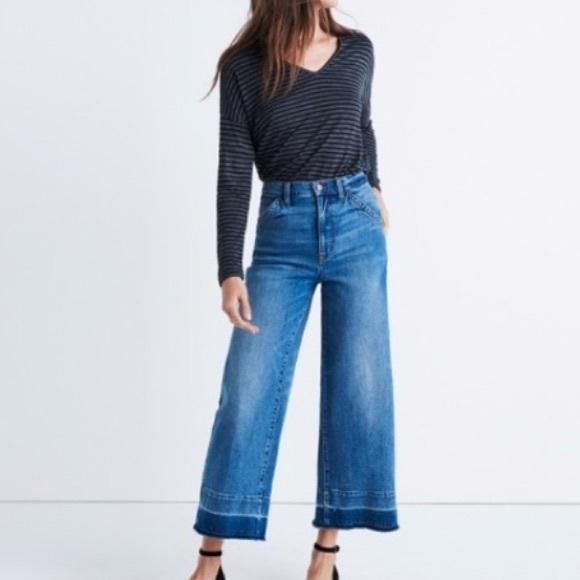 6996ddf2a00d5 Madewell Denim - Madewell wide leg crop jeans drop hem